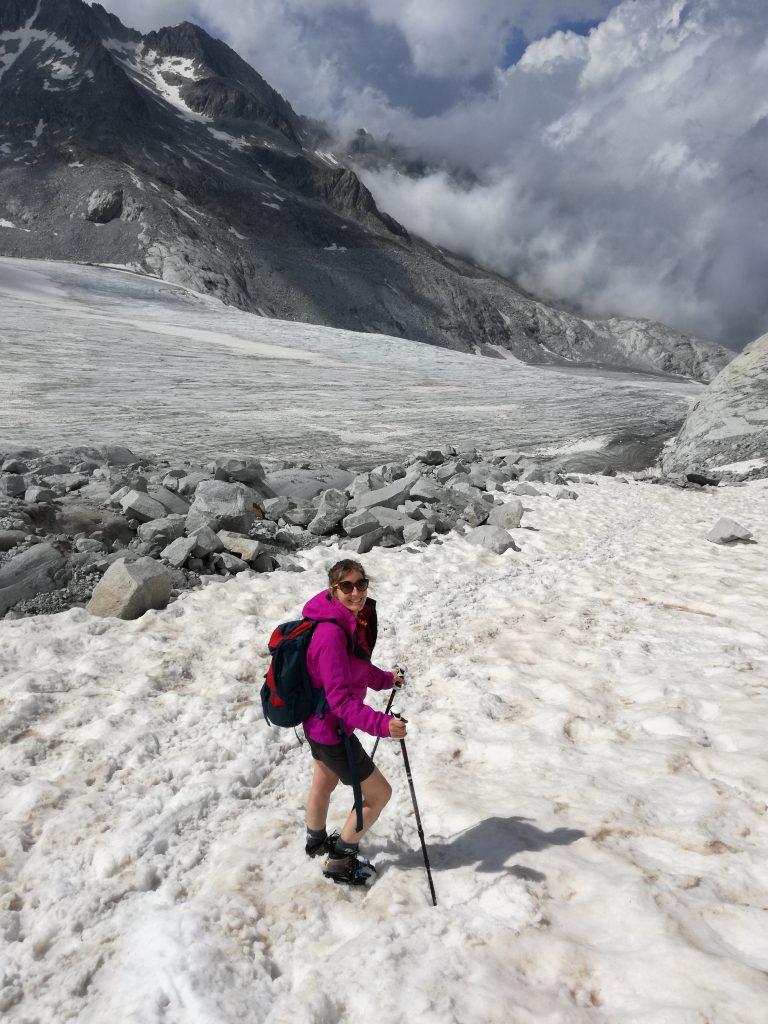 Rosamaria, lungo il ghiacciaio