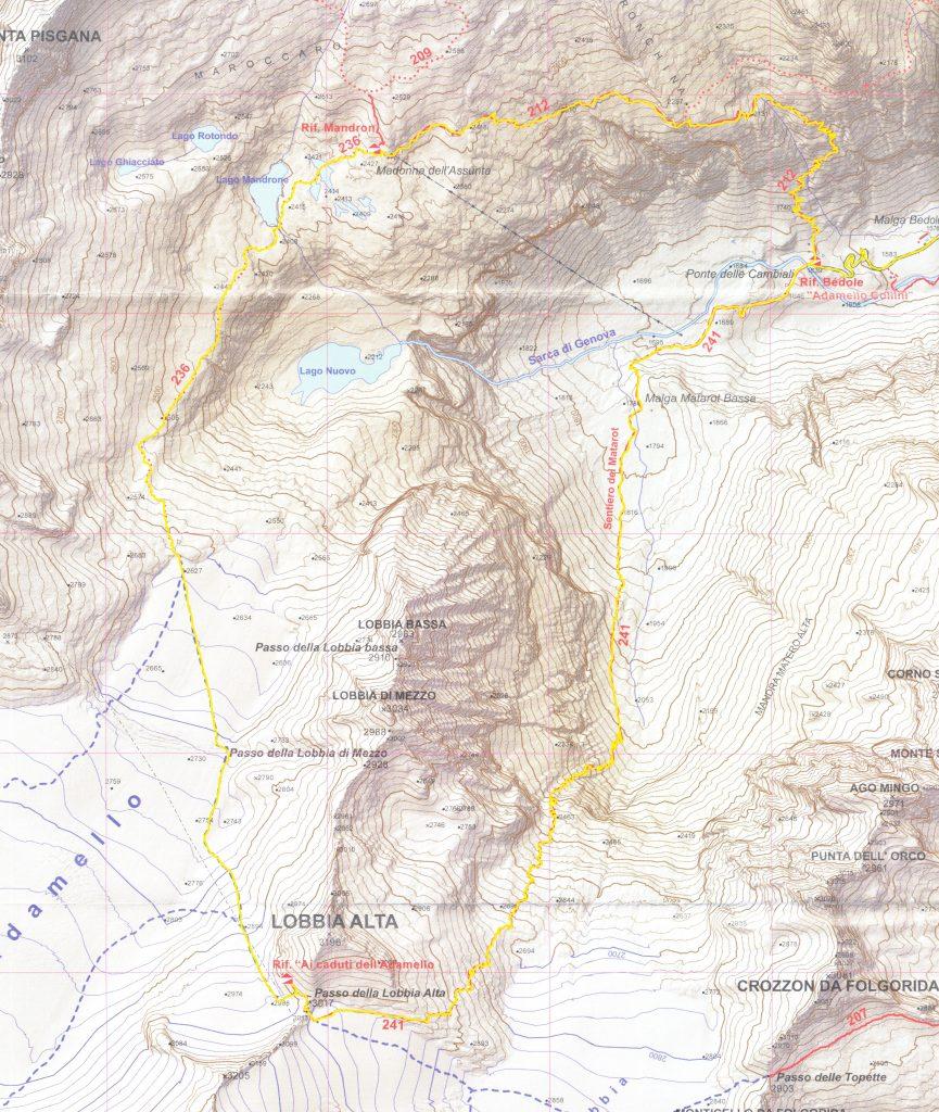 il percorso a piedi attraverso il ghiacciaio Adamello